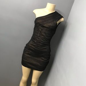 Express Bodycon metallic one shoulder dress